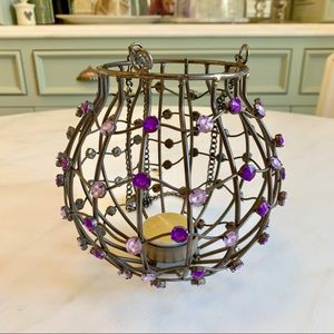 Purple & Metal Hanging Orb Lantern
